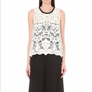 Maje Guipure Lace Blouse Top Sleeveless